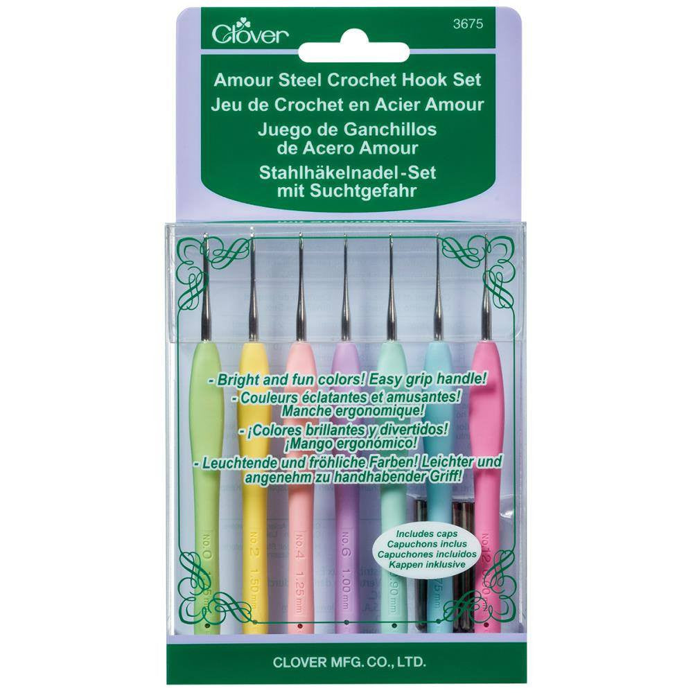 Clover Amour Soft Grip Steel Crochet Hooks - Set of 7 (0.60 - 1.75mm)  | KNITTING CO. - 1