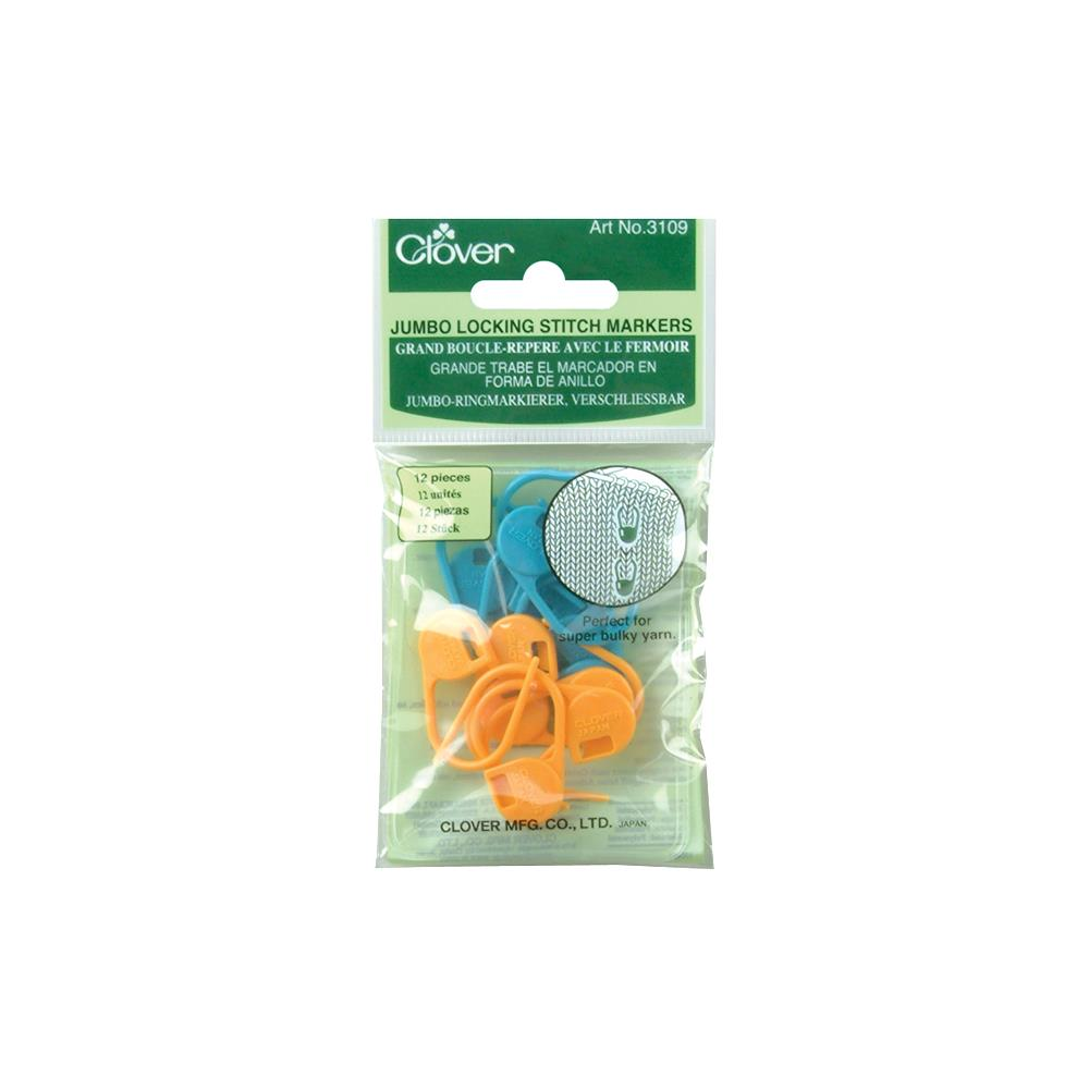 Clover Jumbo Locking Stitch Markers - 12 Pack