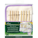 Clover Takumi Bamboo Wood Tunisian/Afghan IC Crochet Hook Set