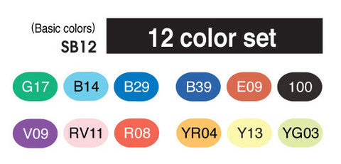 Copic Sketch Double-Tip Markers - Set of 12 Colours