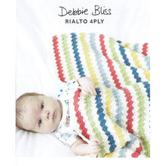 "Debbie Bliss ""Striped Crochet Blanket"" Rialto 4-ply Crochet Pattern Leaflet (#078)"