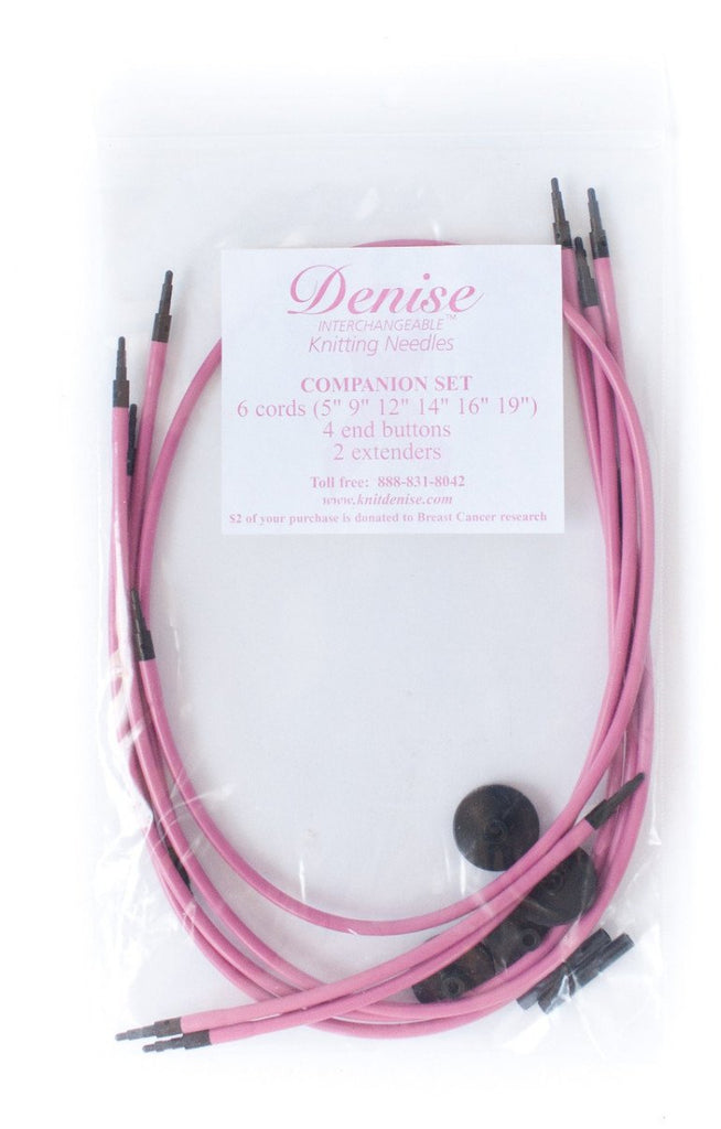 Denise Interchangeable Knitting & Crochet Cables - Pink Set of 6