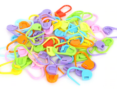 Everyday Colourful Plastic Locking Knitting Stitch Marker - Pack of 20