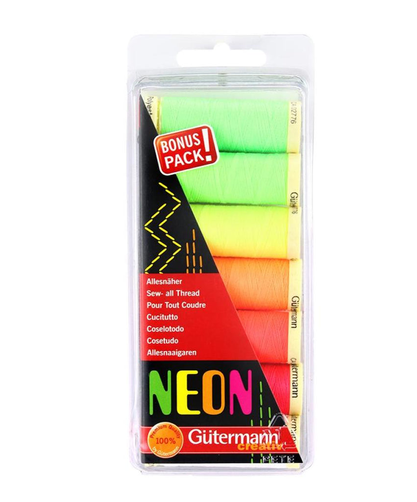 Gutermann Sew-All Polyester Sewing Thread - 7 x 100m Neon Pack