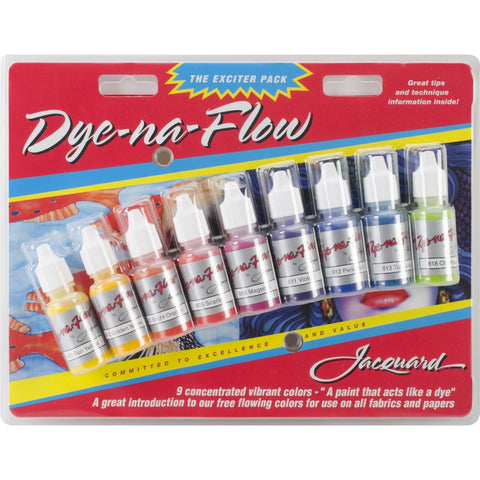 Jacquard Dye-Na-Flow Fabric Paint - Exciter Pack of 9