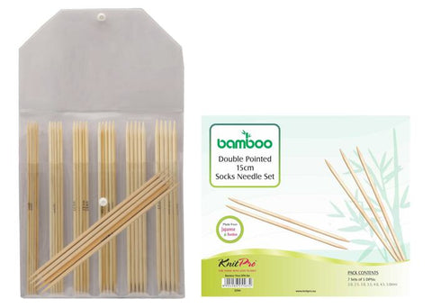 "KnitPro ""Bamboo"" Double Point Knitting Needle Set (15cm or 20cm)"