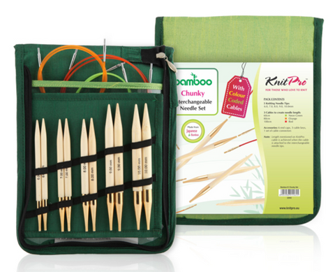 "KnitPro ""Bamboo"" Interchangeable Circular Knitting Needles - Chunky Set"