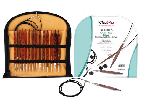 "KnitPro ""Symfonie Cubics"" Rose IC Circular Knitting Needles - Deluxe Set  