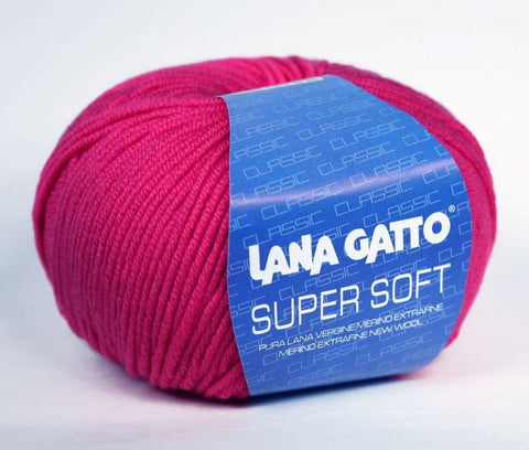 "10 x 50g Lana Gatto ""Supersoft"" 8-Ply 100% Merino Wool Yarn 5240 Fuschia 