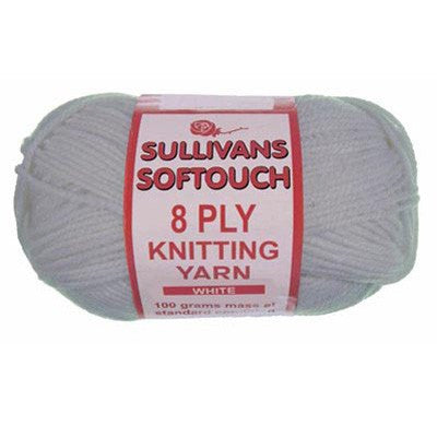 "10 x 100g Sullivans ""Soft Touch"" 8-Ply Yarn 89195 White 
