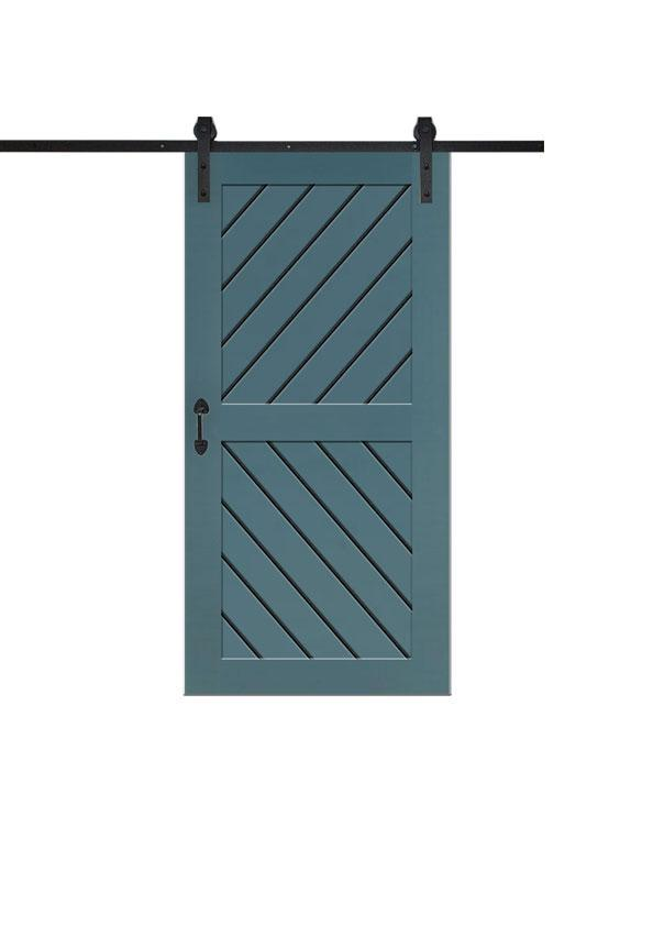 2 Panel Diagonal Slatted Barn Door in Paint Grade