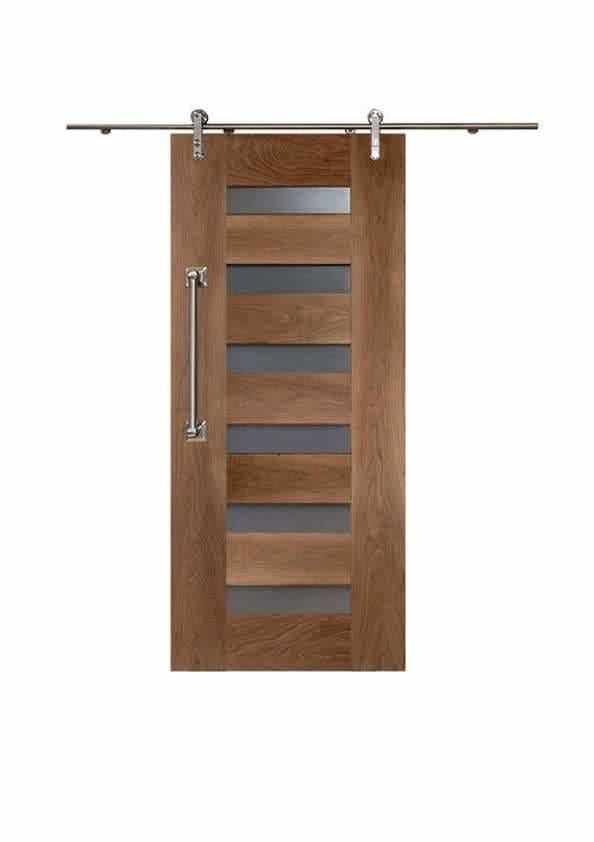 Six Slot Modern Door In Walnut Wood Doors