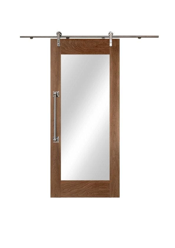 Walnut Sliding Door With Full Body Mirror