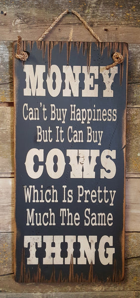 Cow Happiness Wooden Sign