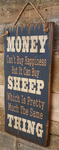 Sheep Happiness Wooden Sign