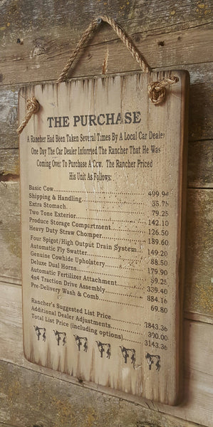 The Purchase wooden sign