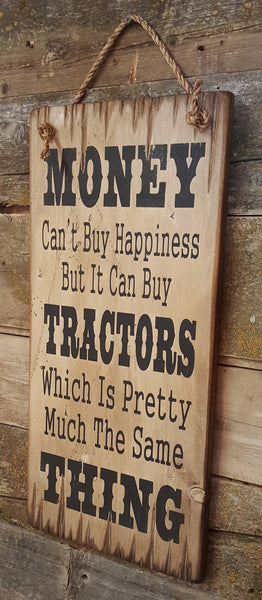 Tractor Happiness Wooden Sign