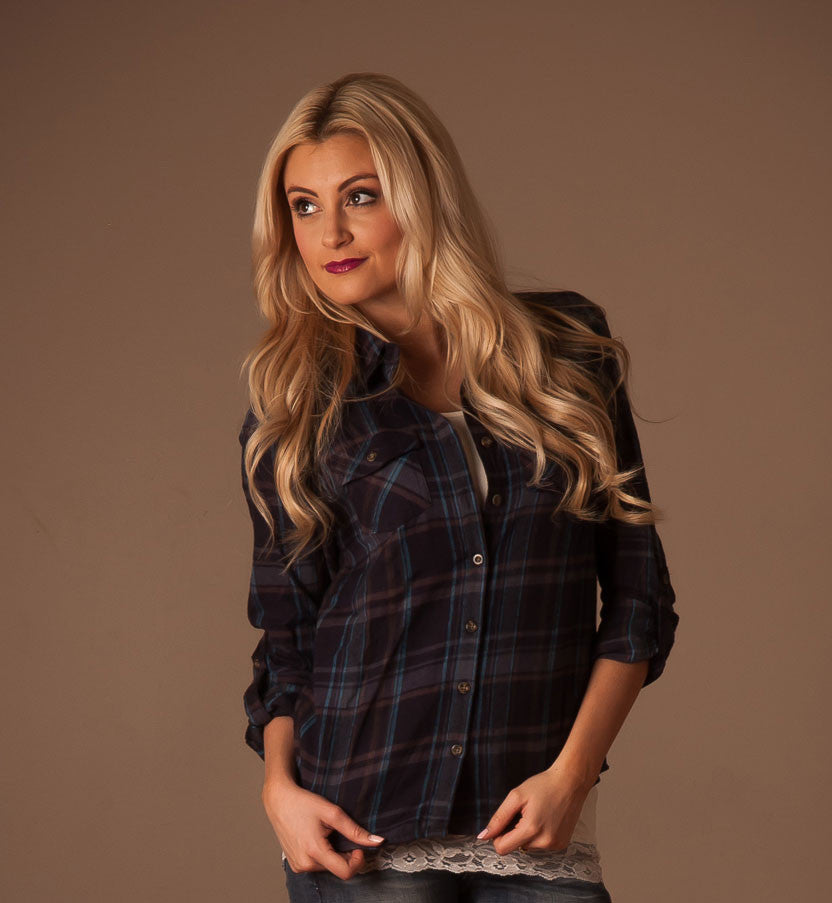 The Cutest Plaid Top in Navy