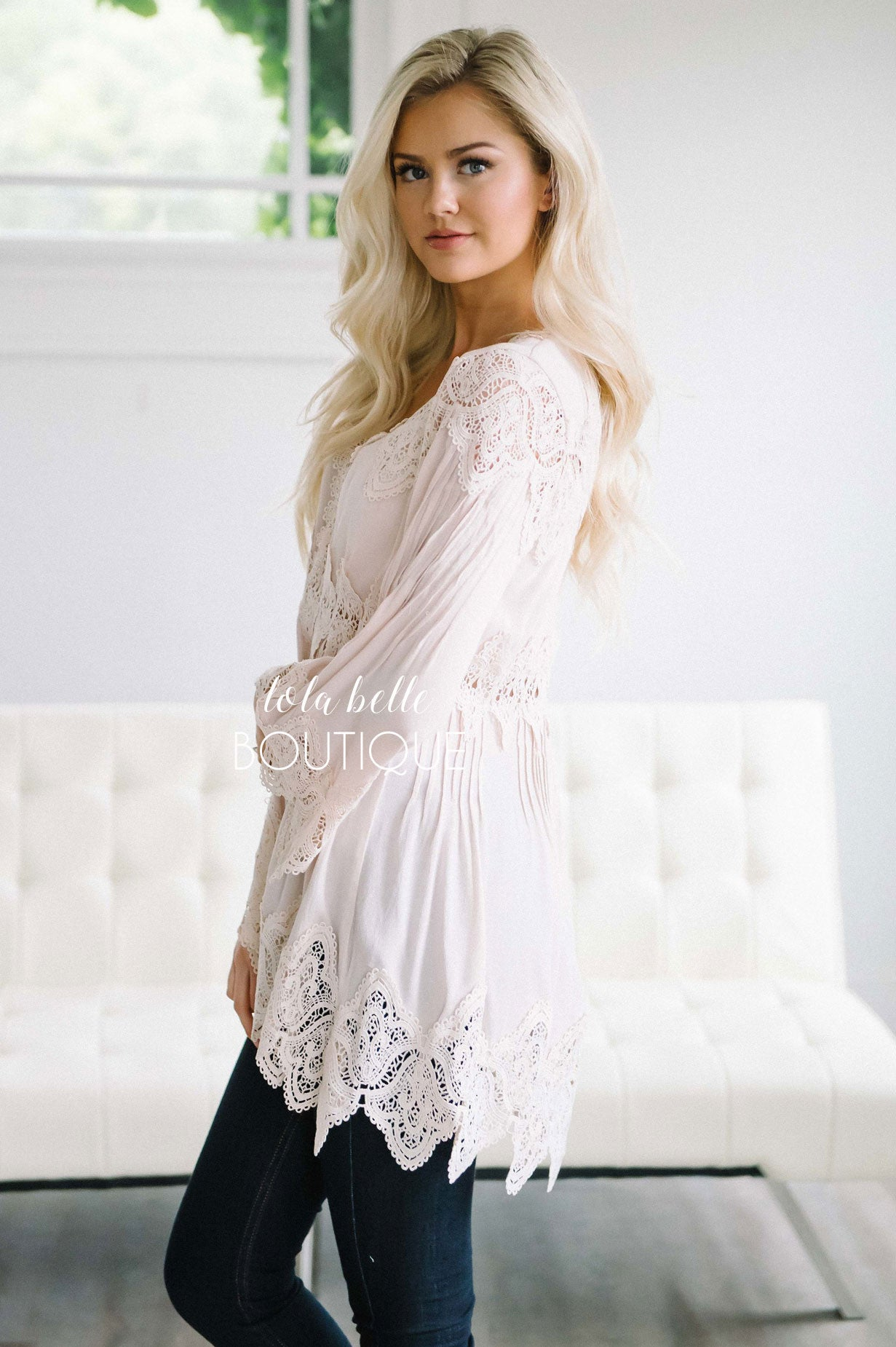 Dripping in Lace Beige Blouse