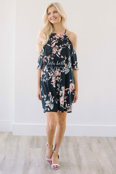 Don't Stop Dreaming Black Floral Dress