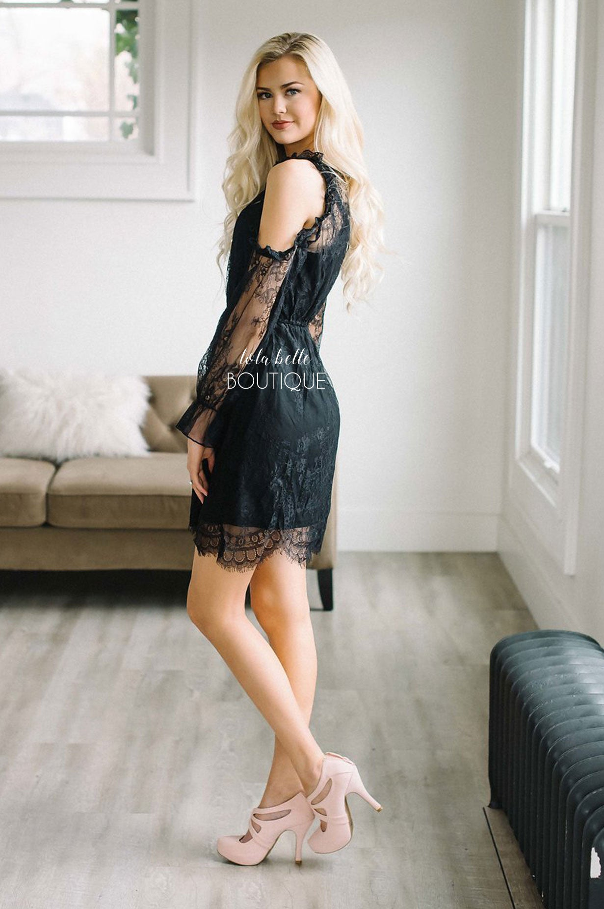 Black Delicate Lace Open Shoulder Dress