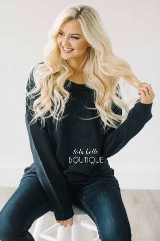 Lace Up Back Sweater in Black