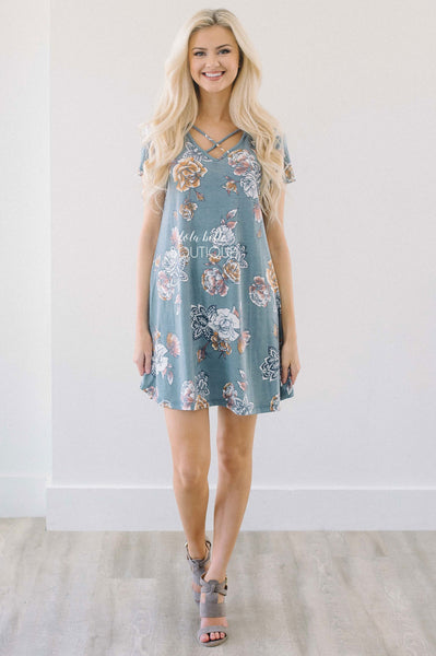 My Summer Love Dusty Blue Floral Dress