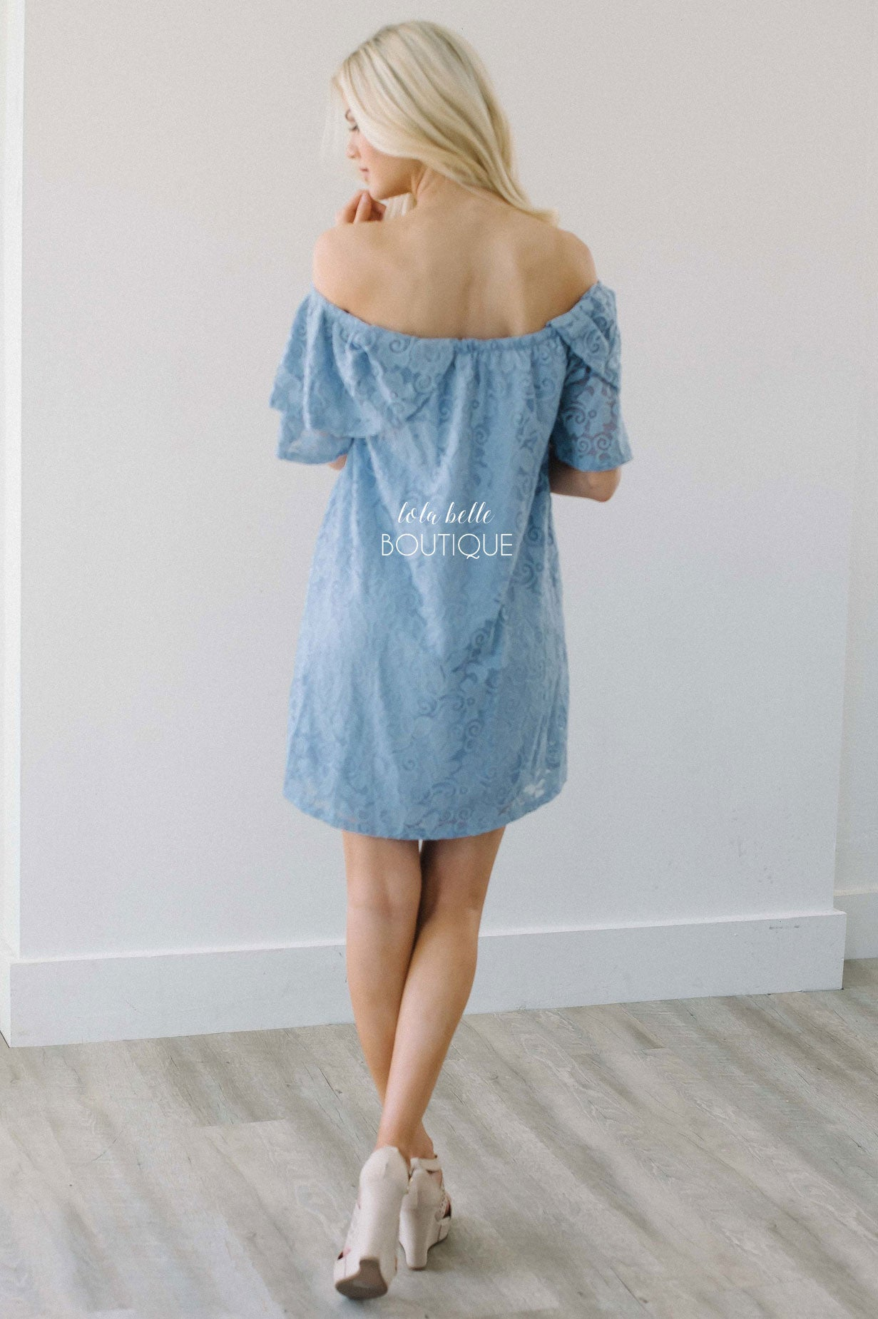 By Your Side Dusty Blue Lace Dress