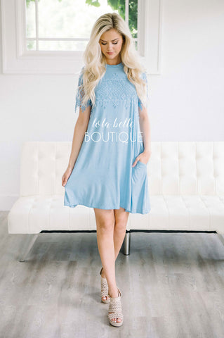 The Florence Dusty Blue Lace Bodice Dress