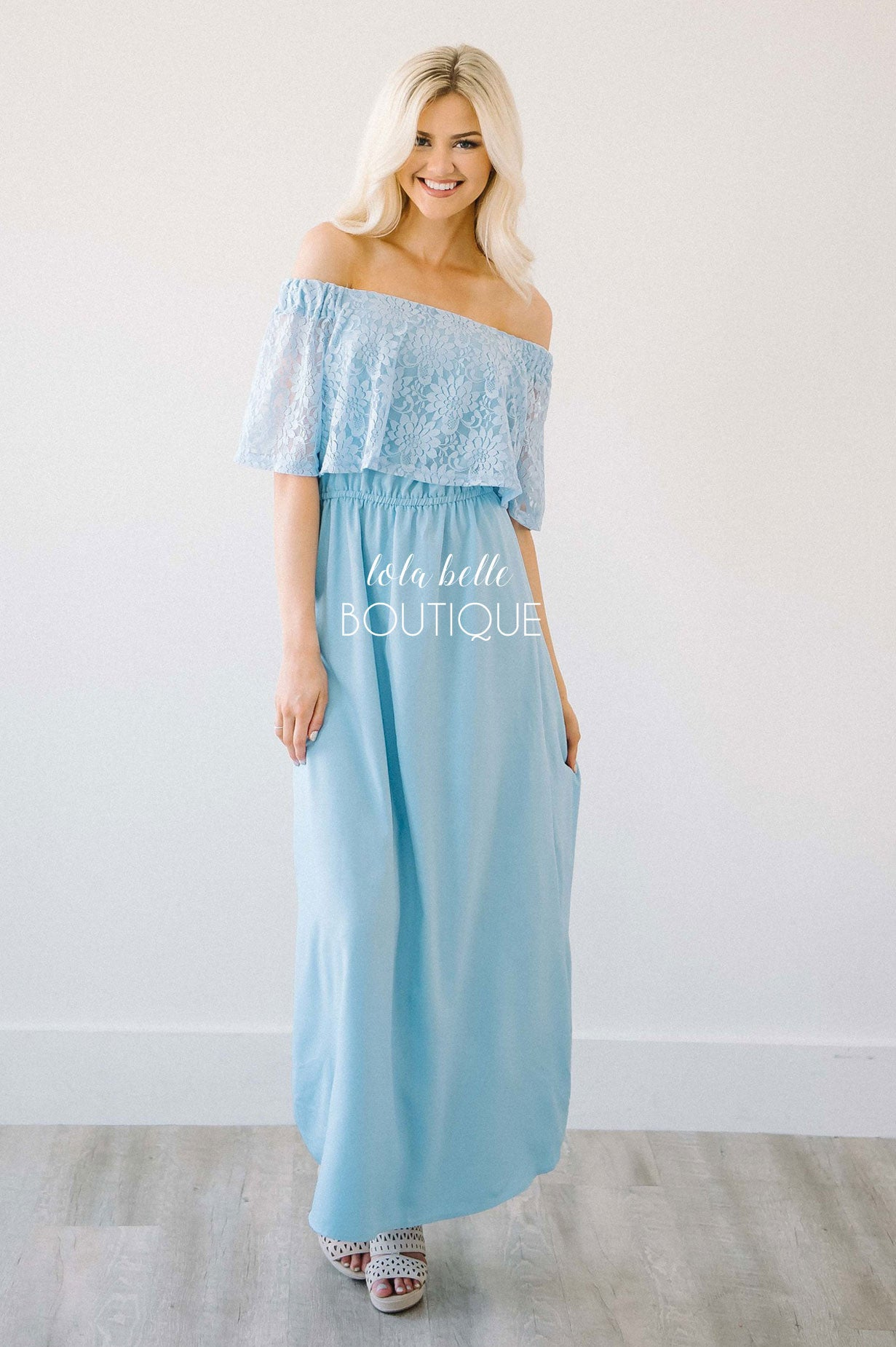 Southern Charm Sky Blue Off The Shoulder Maxi Dress – Shop Lola ...