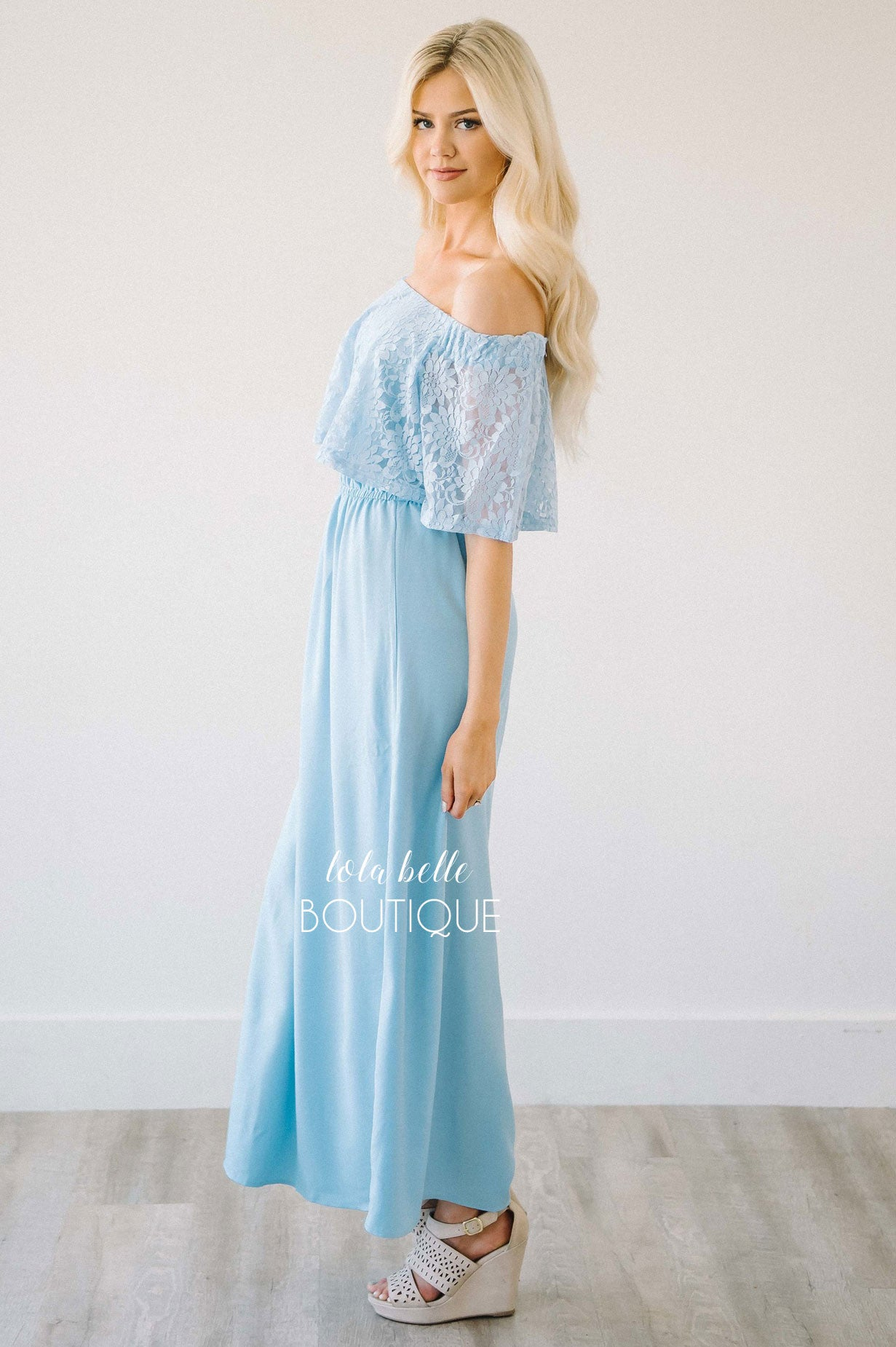 Southern Charm Sky Blue Off The Shoulder Maxi Dress