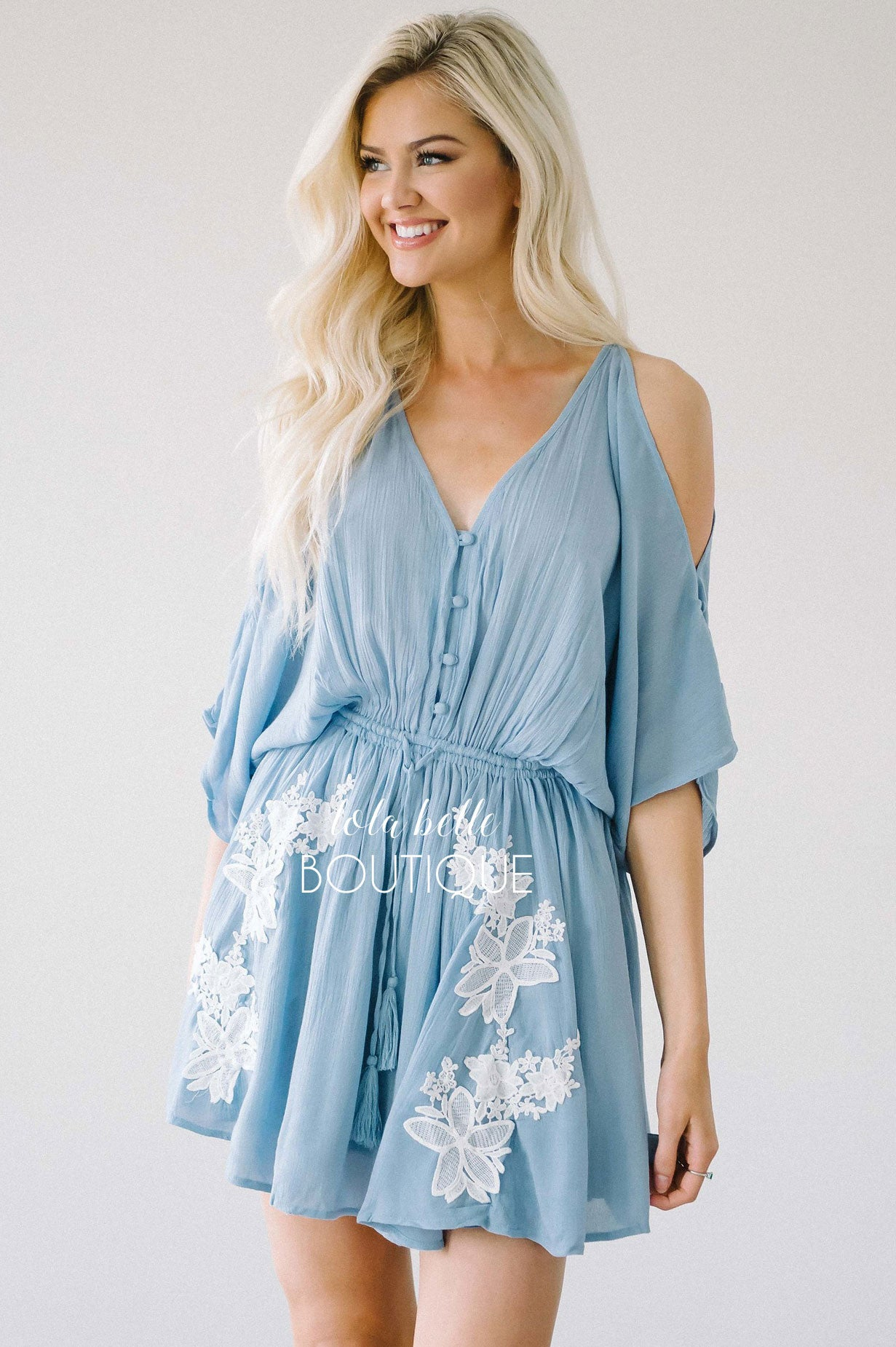 The Anabelle Dusty Blue Embroidery Romper