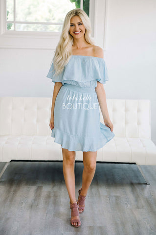 Dusty Blue Ruffle Off The Shoulder Dress