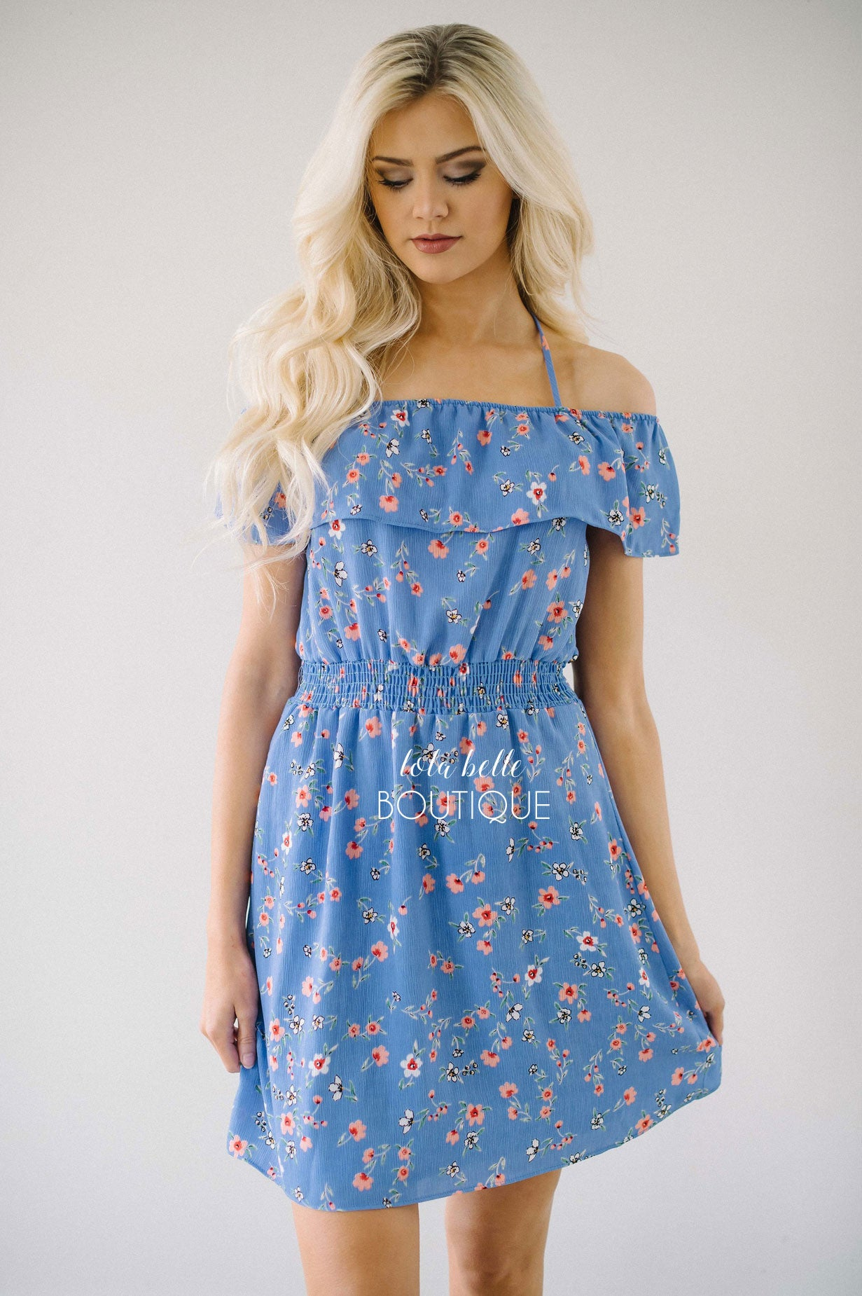 Periwinkle Floral Ruffle Shoulder Dress