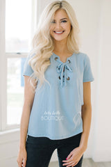 Soft As Ever Light Blue Lace Front Top