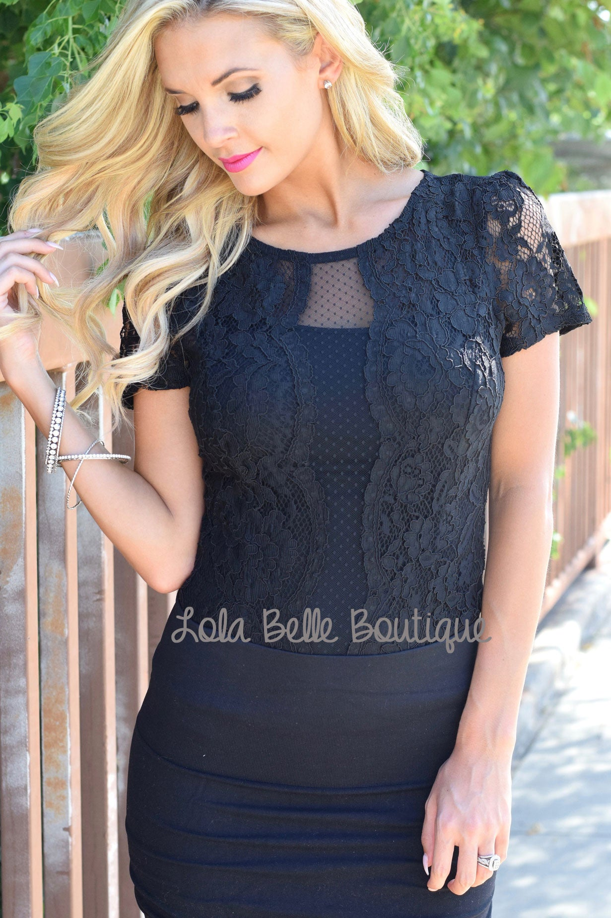 Sending My Love Black Lace Bodysuit