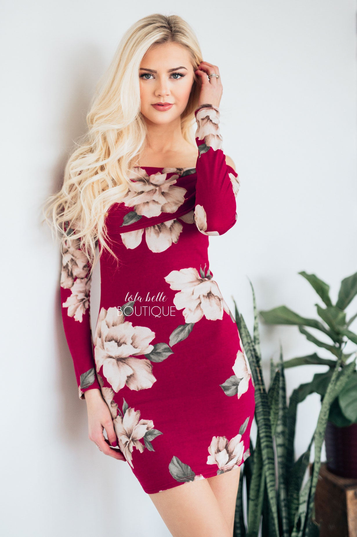 041fbe20598b Burgundy Floral Off The Shoulder Dress – Shop Lola Belle Boutique