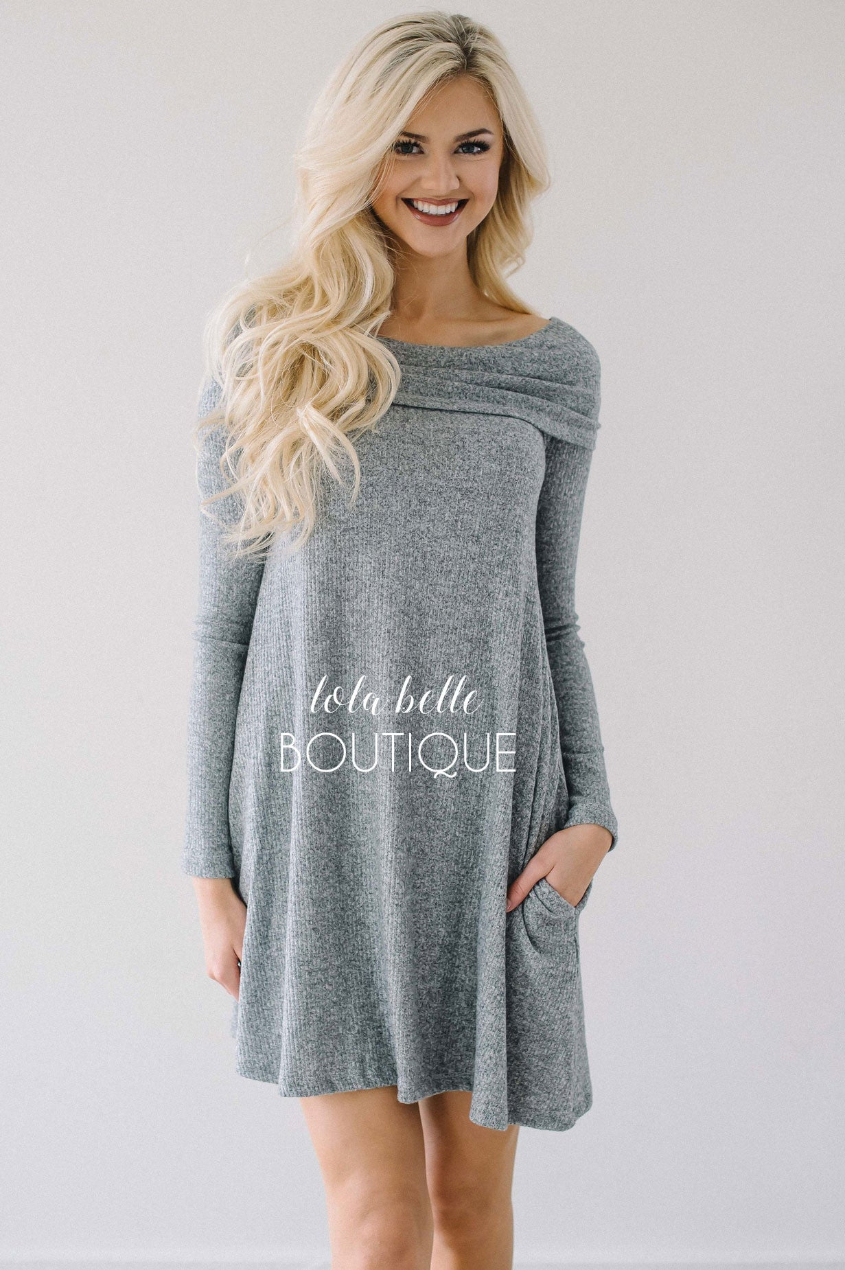Comfy   Cute Gray Pocket Dress – Shop Lola Belle Boutique 419e247ac143