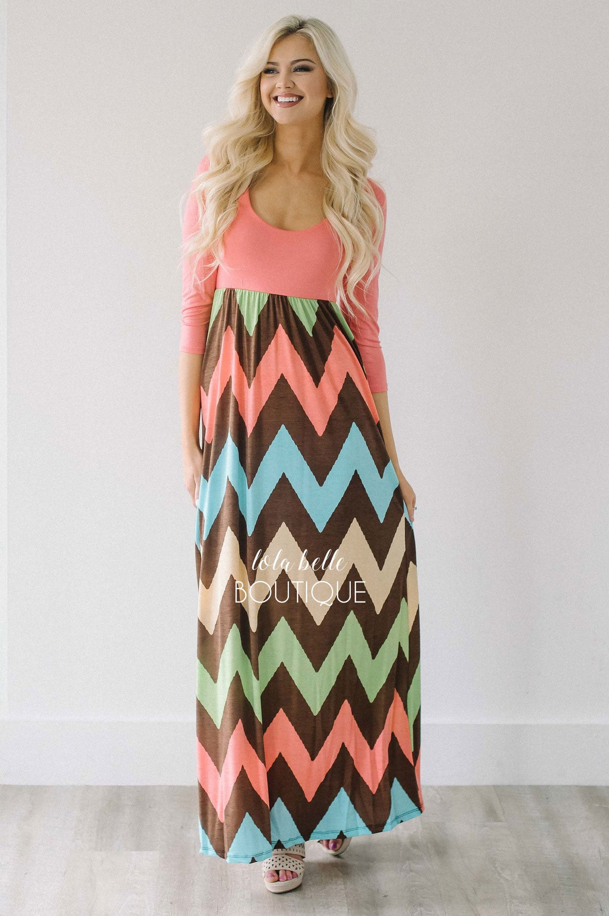 4e260fed5f3 Coral 3 4 Length Sleeve Chevron Maxi Dress – Shop Lola Belle Boutique