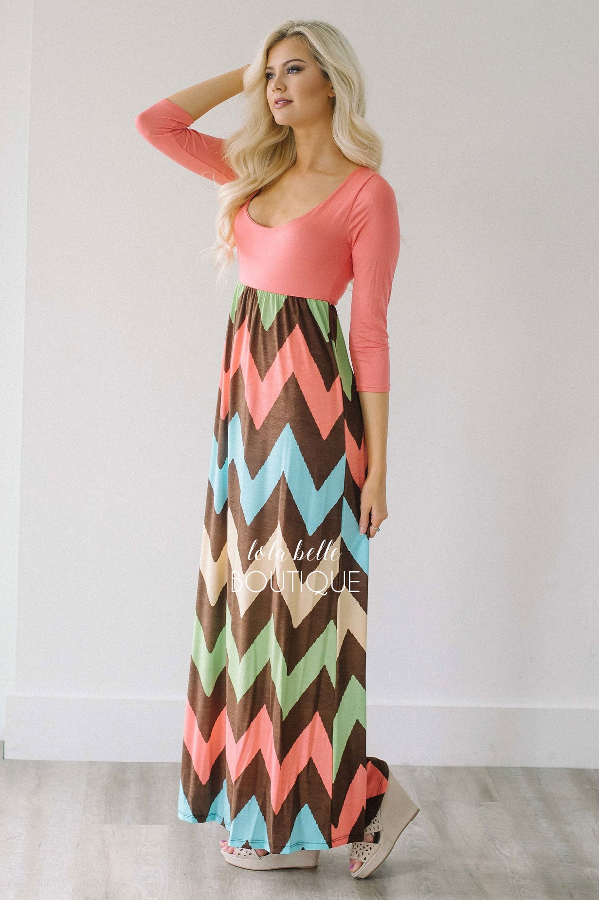 a64ca0620ff Coral 3 4 Length Sleeve Chevron Maxi Dress – Shop Lola Belle ...