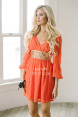 The Perfect Chiffon & Sequins Dress in Neon Coral