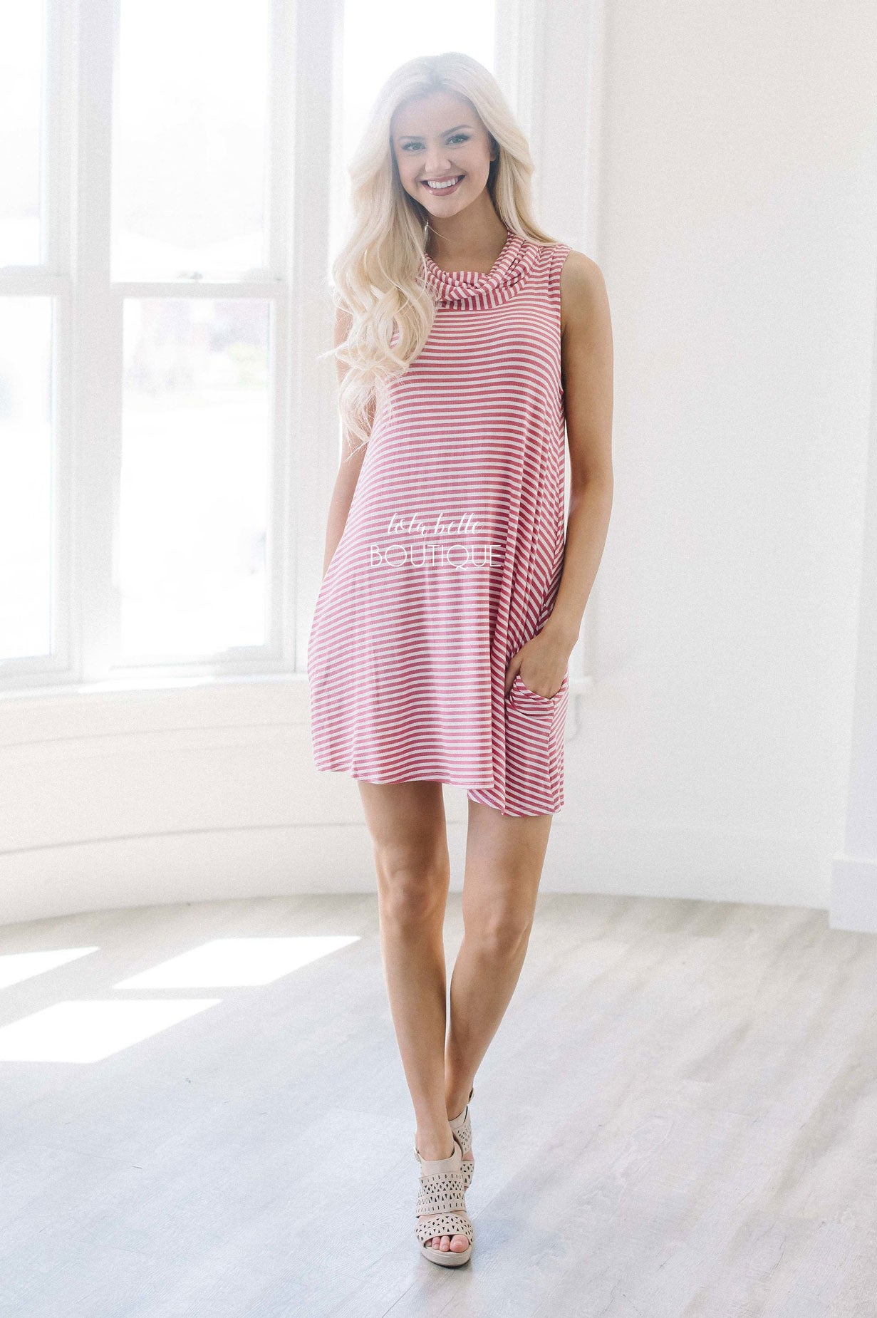 Coral & White Stripe Cowl Neck Dress