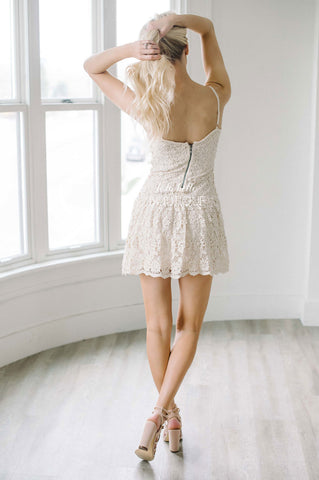 Cream Floral Eyelet Lace Summer Dress