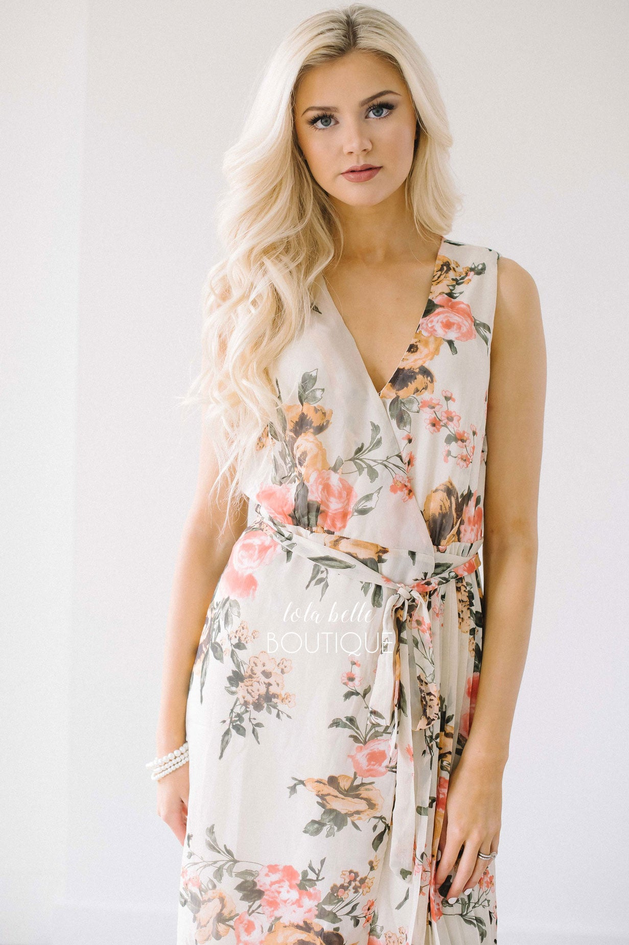 Lovely Day Floral & Pleats Wrap Dress