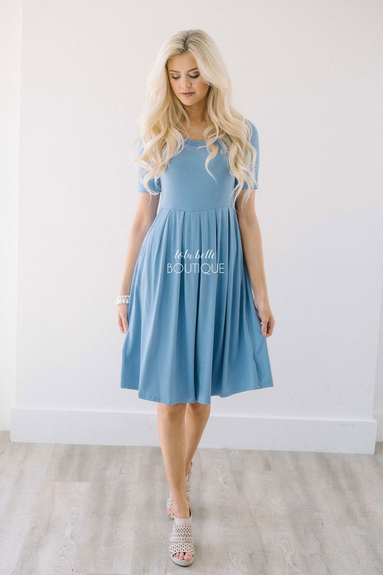 Dusty Blue Pleats & Pockets Dress