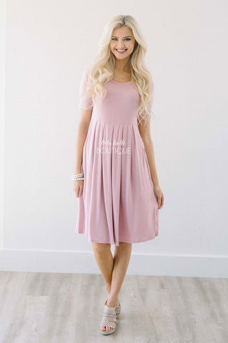 Dusty Pink Pleats & Pockets Dress