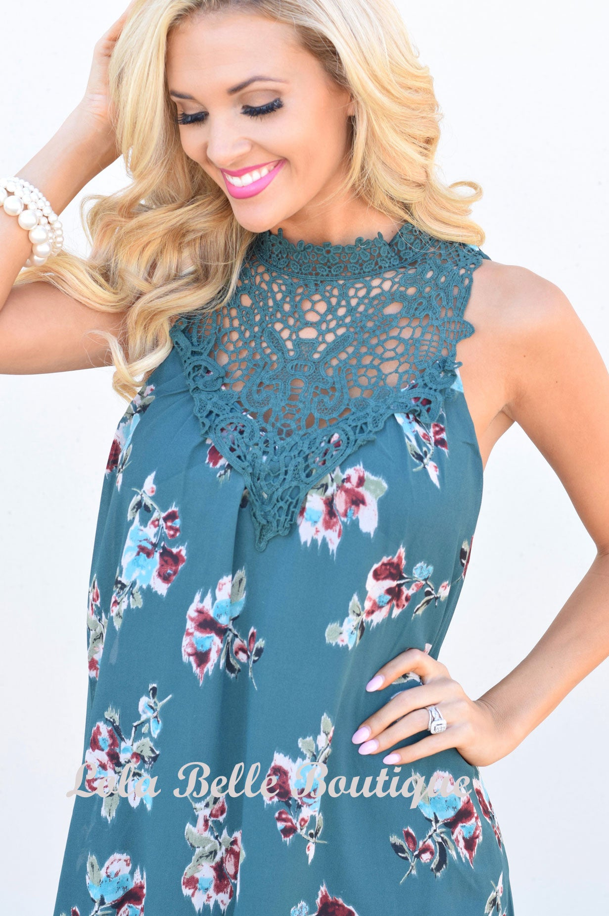 Emerald Floral Crochet Dress