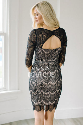 Eyelash Lace & Sequins Black Dress