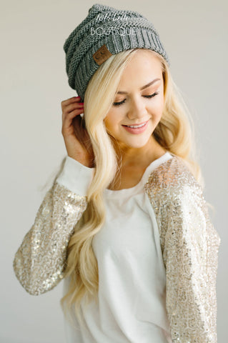 White Sequin Sleeves Holiday Sweater