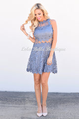 So Into You Shimmering Gray Lace Dress